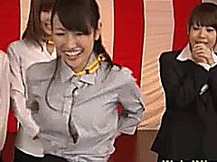 Japenese office ladies get their breasts fondled in front of a crowd