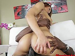 Ebony redhead babes close up anal with her big black cock partner