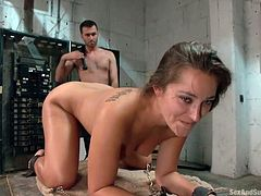 A bonded bitch with big tits has to endure a special treatment in the basement: to strictly obey to her master's orders... The busty sex slave has her hands and legs in shackles and cannot make any move. Watch slutty Dani in hardcore scenes of whipping and banged hard from behind!