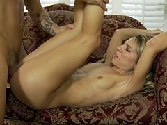 Gorgeous blonde with small tits getting her pussy fingered then yells while being pounded hardcore while displaying her medium ass