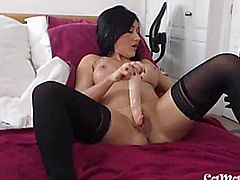 Hot biceps brunette lady Leila from England masturbates