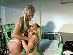 Nasty Nurse and Patient with Long Hair and in Bra Masturbates on her bed then they have Lesbian sex as they put Toys in their Shaved Pussies