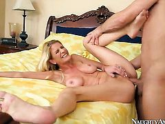 Asian Robbye Bentley parts her legs to take Bill Baileys sturdy meat stick in her love tunnel