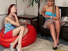 CFNM Mishka Devlin and Adele Cherry getting kinky with guys cock