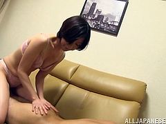 sugary japanese cowgirl in bra and in panties seduces her lover undresses and gives lapdance then performs awesome blowjob