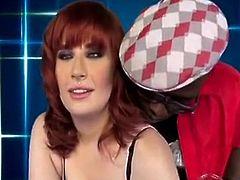 Cute redhead IR gangbanged and interviewed