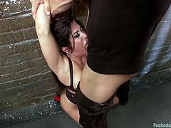 This is the proper way to treat a whore like Alexa. You need to keep her tied, grab her by the neck and push her towards the wall while fucking her mouth merciless. Alexa knows that this is what she deserves so she open up and takes all that dick without having a word to say about it. Oh yeah, she likes it