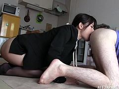 This is a hot blowjob scene with a horny sweet hottie sucking a huge cock for a hot and huge cumshot load.