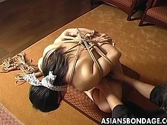 Naughty asian stud likes to play with a porn hottie in masturbation and gets a little nasty and wild with teasing pussy in bondage.