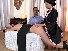 Ivana and Mira lick each other's bumholes and get fucked in FFM video