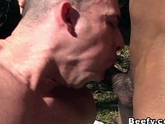 black muscular beefy gays make horny in the forest hard sucking and cock sucking. Adventure that leads into Hardcore anal fucking with nasty cumshot in the end.