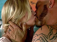 Two hot babes undress to spend an unforgettable night in the company of a horny guy. They are extremely sensual and move their tattooed bodies in a kinky way, turning on the man, who gives them each the attention deserved. Click to see the rim job expressive scenes and the bitches kissing and sucking tits!