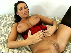horny brunette with big tits in nylon stockings and lingerie gets hot hardcore drilling and cums on her cunt in threesome reality