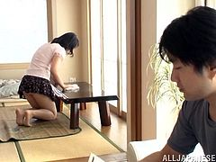 Gorgeous Japanese wife in sexy panties and miniskirt thrilled as her natural tits are caressed then gives a steamy blowjob till he jerks off
