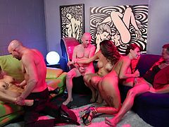Three couples get busy in a full blown swingers orgy