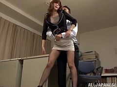 Smart Japanese teacher with long hair in high heels and pantyhose getting her pussy fingered before getting smashed doggystyle