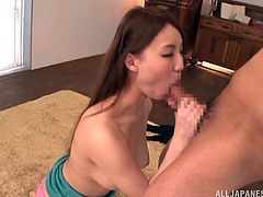 japanese babe with natural tits and long hair kiss nicely then performs awesome blowjob to hard cock then does good titjob in hardcore scene