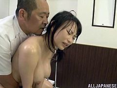Stunning Japanese cowgirl in a sexy panties and bra thrilled as her body gets oiled then massaged then gets fingered before giving a blowjob