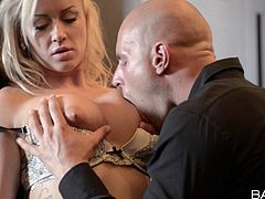 Fine blonde with long hair getting her big tits fiddled then giving her guy blowjob and getting drilled hardcore doggystyle
