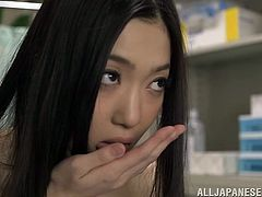 japanese cowgirl with hair chats with doctor in uniform she removes her bra and her juicy small tits teased nicely in reality clip