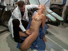 Crazy doc Wilde is dealing with his patient, Dylan, in a very unprofessional way. he fingers her pussy really deep and then puts her on her knees and fucks her mouth. The blonde loves it so he slides his dick between her lips and then deep in her throat. Let's see what else the gynecologist will do to this pussy