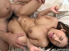 Ardent Asian cowgirl with big natural tits and long hair getting her hairy pussy fingered before getting screwed hardcore missionary