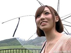 japanese babe with small tits and in miniskirt raises umbrella over her head gets in a car then gives awesome blowjob in car fucking scene