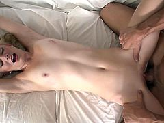 Titless blond haired filth got her pussy destroyed in mish pose hard