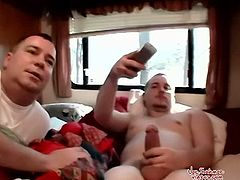 After being jacked off by a volunteer, Blaze unloads his swollen straight boy dick