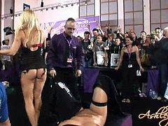 Ashley Fires and Bree Olson were on for a lesbian fuck scene, licking pussies in front of many people as audience in public.