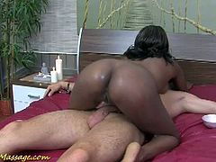 Slippery Massage brings you a hell of a free porn video where you can see how this nasty ebony slut rides a white dude's very hard cock into a massively intense orgasm.