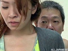 Glamorous Asian housewife with long blonde hair and magnificent natural tits groaning as she is getting pounded hardcore