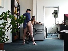 With massive melons cant resist the temptation to take his hard schlong in her backdoor