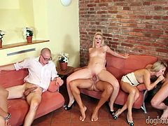 Salacious blondes enjoy riding stiff dicks reverse and face to face
