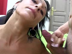 A real amateur Latina babe came to us to film them having sex for the first time ever in a gangbang on camera! She handles it with class and a nice bukkake!!