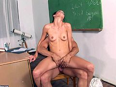 lustful teacher with long hair and natural tits tells erotic story before giving blowjob then her pussy licked and slammed hardcore in college