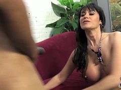 Attractive brunette slut with big ass Eva Karera gets doggy banged by black man