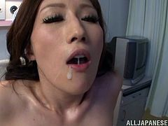 Asian pornstar takes cum in mouth after being drilled in mmf threesome