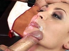 This horny hottie loves to take a big cock in her mouth for a suck in a nice blowjob and gets her pussy nailed doggystyle hardcore.