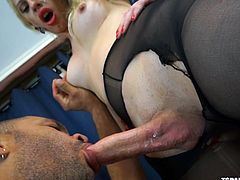 This transsexua'ls boyfriend is so horny for her. She lick her bum tough her pantyhose, and then flips her over so he can get at her stiff cock. The blonde tranny has a rock hard erection now. He tears open her pantyhose and gives her an amazing blowjob.