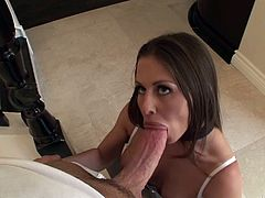This lovely sluttie likes to take a huge cock in her mouth for a suck in a hardcore blowjob and gets her pussy screwed in hot orgasm.
