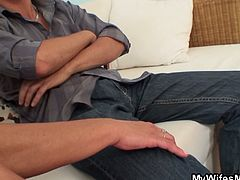 Mom is so horny and naughty she didn't care who to seduce that day and she knows her daughter's boyfriend got a big bulge making her fantasize of fucking him come to life.