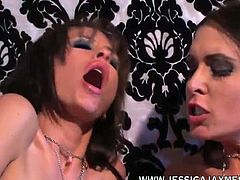 Don't you jus love it when two hot brunettes get together for a fuck fest! Well porn legend Jessica Jaymes and Randy Wright decide to throw it down right there in a Beverly Hills mansion. They eat each others bodies like two sex deprived sluts and sloppily eat their wet pussy juices and gobble up some perfect nipples! Thank you ladies for the out staring spank material!