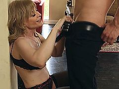 goodlooking older milf is nervous abaout her first date with a young guy.