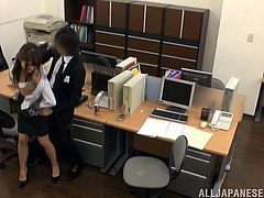 Have you ever fantasized about sexy ladies, working in offices and that are available, to execute every wish you might think of? Click to see a brunette Japanese lady sucking her boss's cock, while on knees on the floor in his office. The bitch has already undressed and is ready to get dirty. See details!