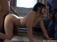 asian bitch awfully fucked by two cocks at once