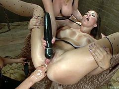 One of this lesbians is craving for real cock. Two of them are trying to offer her more pleasure then a man is capable to give. The blond bitch is playing with a vibrator on her clit, the another is inserting a big toy in her insatiable ass. That is not enough, she needs to feel her ass stretched to the limit. So he asks for fisting.