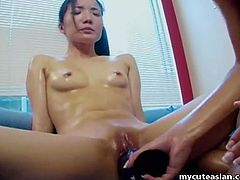 Wanna have fun in the company of a young Asian lesbian couple? Two horny black-haired ladies enjoy playing dirty together in a water tub. They are both very playful and like exposing their sexiest body parts, lovely buttocks and small tits, in front of the camera. Click to see them using a dildo!