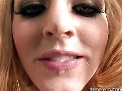 Rocco Siffredi explores the depth of beautiful Sophie Dees throat with his cock