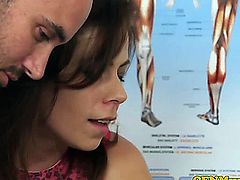 Cfnm femdom Lissa Love gives doctor a bj while hot Charlie Holays looks on